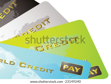 Four credit cards spread out