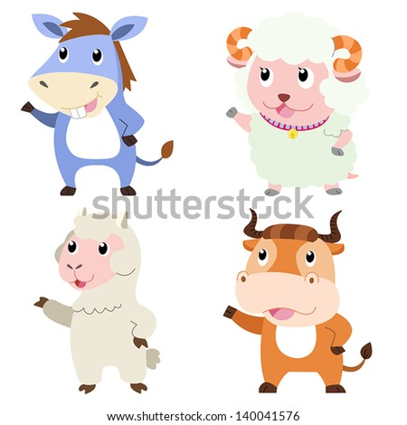 four cute animals with white background. - stock vector