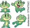 Four cute cartoon frogs. Vector illustration with simple gradients. All in separate layers for easy editing. - stock vector