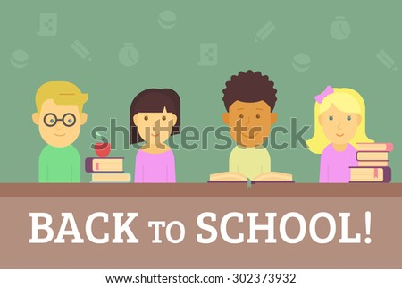 Four cute children with books sitting in the classroom. Text back to school outlined - stock vector