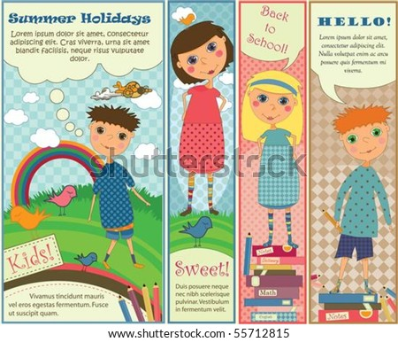 Four cute colorful banners with kids playing outside or getting ready for school. - stock vector