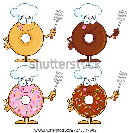 Four Cute Donuts Cartoon Character 4. Vector Collection Set Isolated On White - stock vector