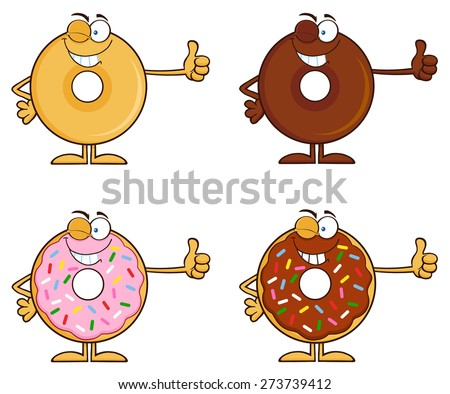 Four Cute Donuts Cartoon Character 5. Vector Collection Set Isolated On White - stock vector