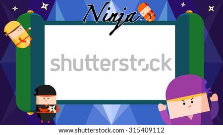 Four cute Japanese cartoon ninja character running and jumping around. Green blank scroll manual board, paper craft, banner signs. Stars shape steel spike shuriken weapon. Geometric pattern background - stock vector