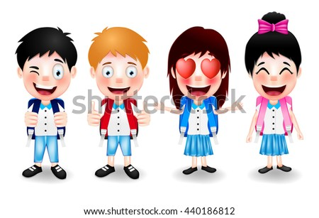 Four Cute Student Characters Wearing School Bag with Different Facial Expressions and Hand Gestures on White Background. Vector Illustration  - stock vector
