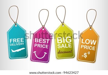 four cute tags over gray background. vector illustration - stock vector