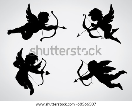 Four cute Valentine's angel silhouette - stock vector