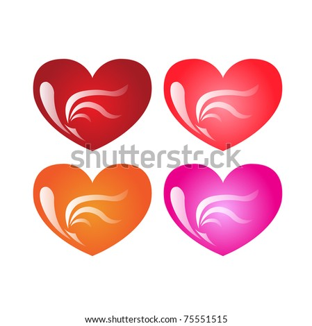 Four decorative hearts vector illustration on white - stock vector