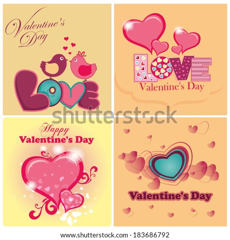 four different backgrounds with hearts and text for valentine's day
