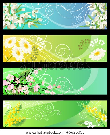 Four different beautiful spring floral banners - stock vector