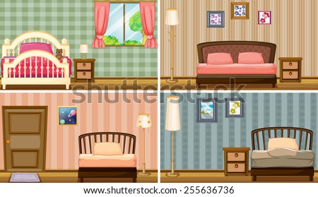 Four different bedrooms - stock vector