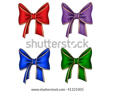 Four different bows - stock vector