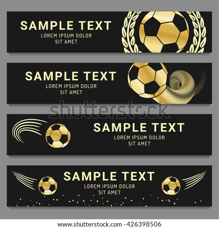 Four different football panoramic banner designs in black and gold with a football flying through the air with motion lines, copy space and a simple motif to the side