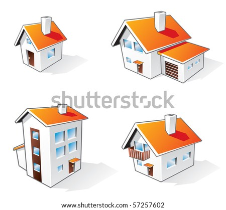 Four different houses vector icons in cartoon style - stock vector