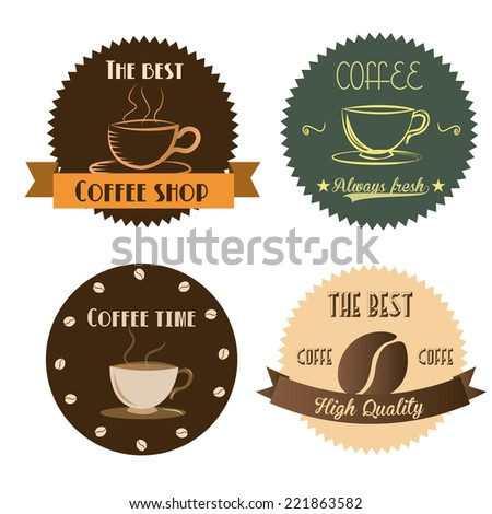 four different labels with text, ribbons and coffee icons