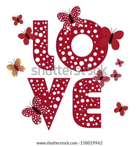 four different letters for valentine and some butterflies around it - stock vector