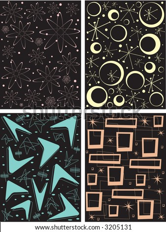 Four different retro pattern tiles. Can be tiled, seamed, scaled, repeated, etc. Fully editable vector illustration.