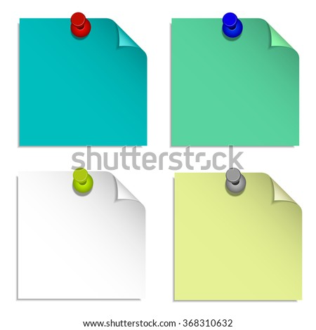 four different sticker colors with a shade attached to the wall of the stationery buttons