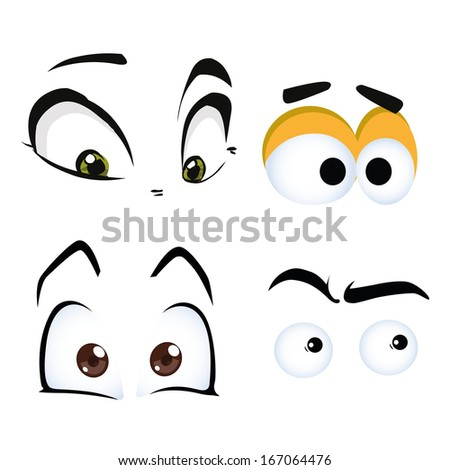 four different styles of eyes with different colors and expressions