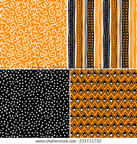 Four different vector seamless patterns on ethnic motifs - stock vector