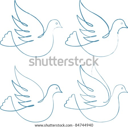Four doves. Editable brushed lines in AI file (vector)