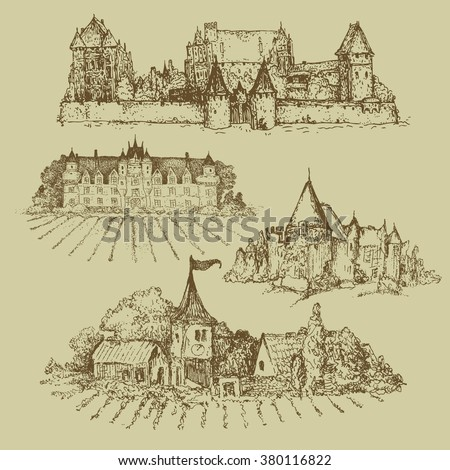 four drawings of castles