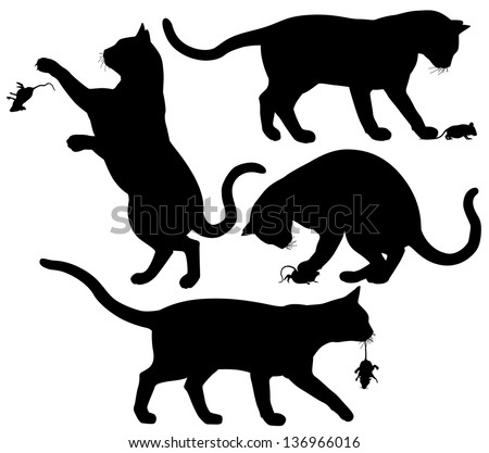 Four editable vector silhouettes of a cat playing with a mouse - stock vector