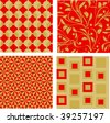 four elegant red and gold seamless patterns - stock vector