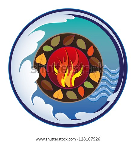 Four elements. Fire,earth,water,air. Isolated - stock vector