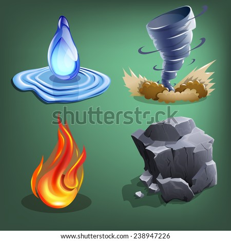 Four elements for games. Vector illustration. - stock vector