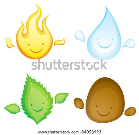 Four elements in the form of smiling characters - stock vector