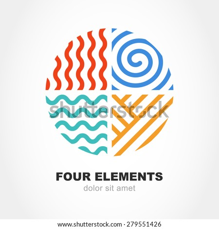 Four elements simple line symbol in circle shape. Vector logo design template. Abstract concept for nature energy, synergy, tourism, travel, business. Fire, air, water and earth sign. - stock vector