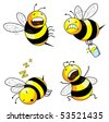 four emotion bee comic character series (vector) - stock photo