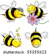 four emotion bee comic character (vector) - stock photo