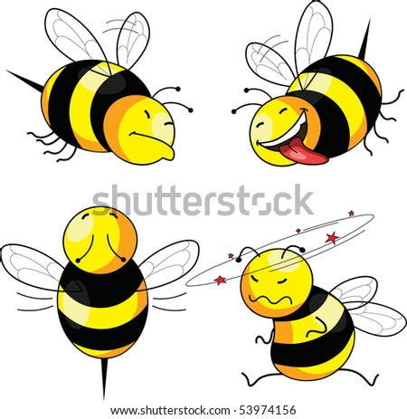 four emotion bee comic character (vector) - stock vector