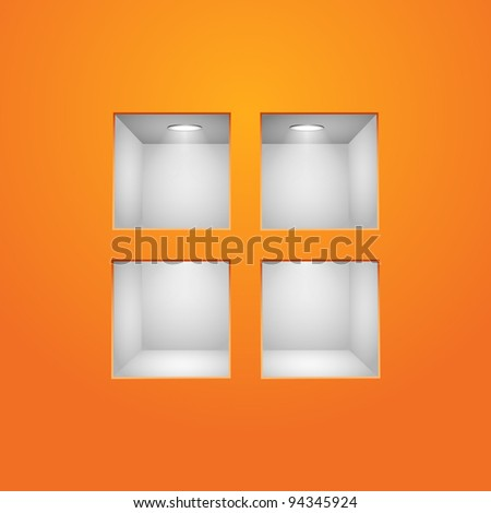 Four Empty Shelves For Exhibit In The Orange Wall - stock vector