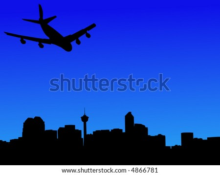 four engine plane arriving in calgary illustration