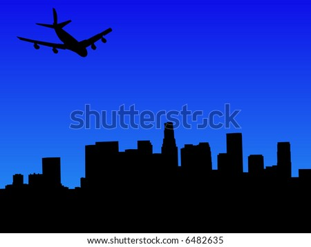 four engine plane arriving in Los Angeles - stock vector