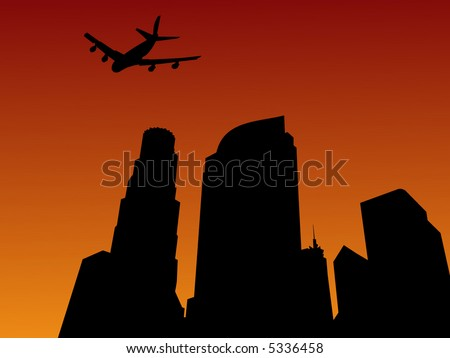 four engine plane arriving in Los Angeles at sunset - stock vector