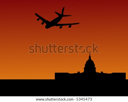 four engine plane arriving in Washington DC