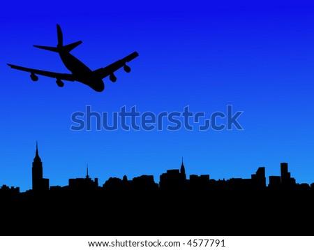 four engine plane flying towards midtown manhattan - stock vector