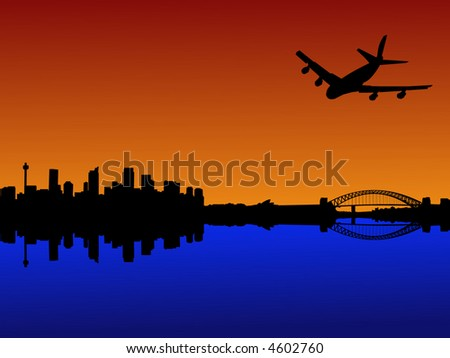four engine plane flying towards Sydney with harbour bridge at sunset - stock vector