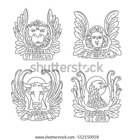 Four Evangelists Line Symbols Angel Lion Stock Vector 552150058