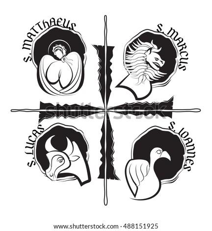 Four Evangelists Symbols Angel Lion Ox Stock Vector 488151925