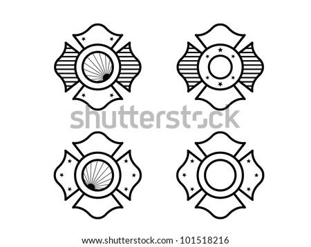 Four Fire Fighter Maltese Cross. - stock vector