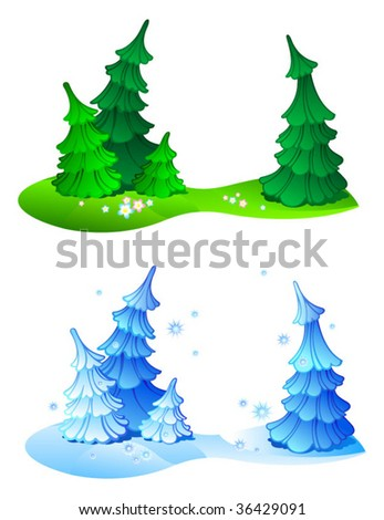 Four firtrees in composition, summer and winter variants, set. - stock vector