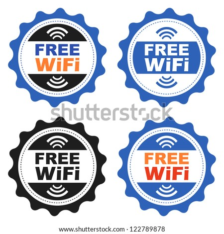 Four Free Wifi labels.
