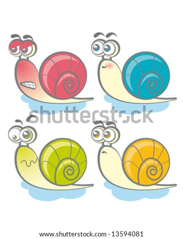 four funny colorful snails
