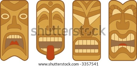 Four funny Hawaiian Tiki masks on white background - stock vector