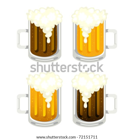 Four glass mug with dark and light beer - stock vector